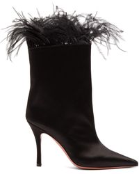 AMINA MUADDI Nakia Feather Trimmed Satin Ankle Boots - Black