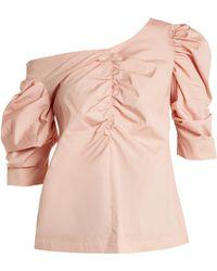 Isa Arfen - One-shoulder Gathered Cotton Top - Lyst