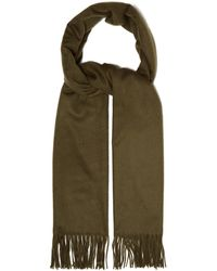 Johnstons Fringed Cashmere Scarf - Green