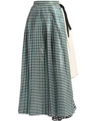 Toga Gingham Pleated Cotton-blend Skirt - Green