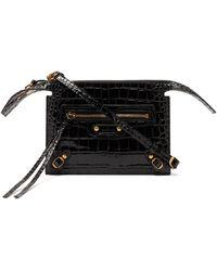 Balenciaga ネオクラシック クロコダイルパターン レザーバッグ - ブラック