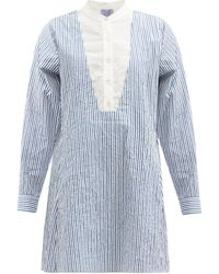 Thierry Colson ヴィクトリア ストライプ コットンシャツドレス - ブルー