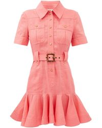 Zimmermann ポピー ベルテッド リネンミニシャツドレス - ピンク
