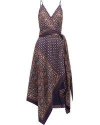Jonathan Simkhai - Geometric-print Satin-twill Wrap Dress - Lyst
