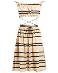 JW Anderson - Off-the-shoulder Striped Cotton Dress - Lyst