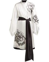 Carine Gilson - Lace Embellished Silk Satin Kimono Robe - Lyst