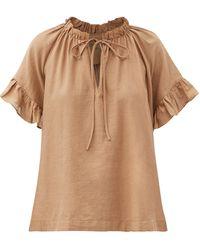 Loup Charmant Marina Ruffled Organic-cotton Top - Brown