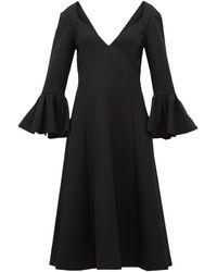 Marc Jacobs ベルカフス ウールクレープミディドレス - ブラック