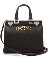 Gucci Zumi Grainy Leather Medium Top Handle Bag - Black