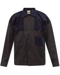 Nicholas Daley オーバーサイズ コーデュロイパネル キャンバスシャツ - ブラック