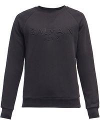 Balmain エンボスロゴ コットンスウェットシャツ - ブラック