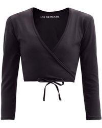 Live The Process Zen Stretch-jersey Wrap Top - Black