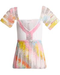 Germanier Bead-embellished Tulle And Jersey Top - Multicolour