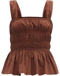 STAUD Ida Peplum-hem Shirred Cotton-poplin Top - Brown