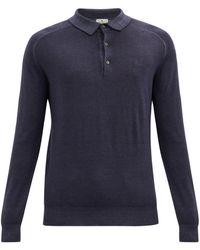 Etro ペガサス ウール ロングスリーブポロシャツ - ブルー