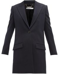 Givenchy Single-breasted Wool Coat - Blue