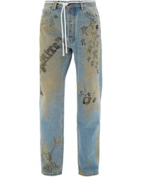 Off-White c/o Virgil Abloh Distressed Doodle-print Jeans - Blue
