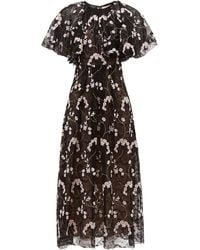 Giambattista Valli Floral-embroidered Chantilly-lace Dress - Black