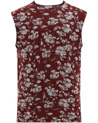 Jil Sander Floral-jacquard Sleeveless Jumper - Red