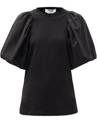 MSGM パフスリーブ コットンtシャツ - ブラック
