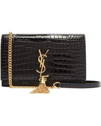 Saint Laurent Kate Crocodile-effect Leather Cross-body Bag - Black