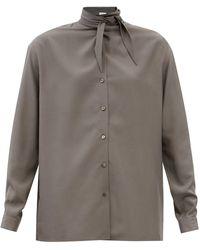 Lemaire タイネック シルククレープシャツ - グレー
