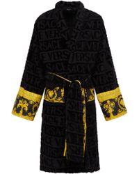 Versace I Love Baroque Logo Jacquard Cotton Bathrobe - Black