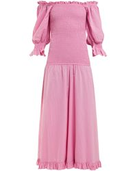 RHODE Eva Off-the-shoulder Smocked-cotton Dress - Pink