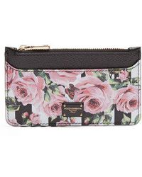 Dolce & Gabbana - Rose And Stripe-print Zip Leather Cardholder - Lyst