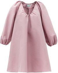 BERNADETTE George Gathered V-neck Taffeta Mini Dress - Pink