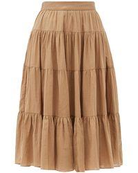 Loup Charmant Fontelli Tiered Organic-cotton Midi Skirt - Brown