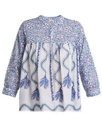 Le Sirenuse Kantha-shell-print V-neck Cotton Shirt - Blue