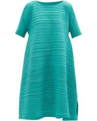 Pleats Please Issey Miyake Technical-pleated Trapeze Dress - Green