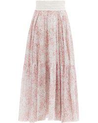 Giambattista Valli Floral-print Silk-georgette Skirt - Pink