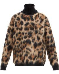 Dolce & Gabbana レオパード タートルネックセーター - ブラウン