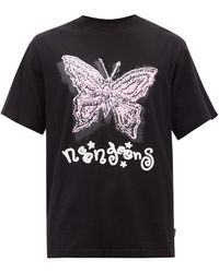Noon Goons Fly High Printed Cotton-jersey T-shirt - Black