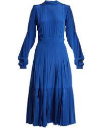 Rochas Robe midi en crêpe de Chine de soie plissée - Bleu