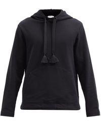 5 MONCLER CRAIG GREEN Tasselled Cotton-jersey Hooded Sweatshirt - Black