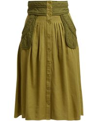 Sea O'keefe Quilted Patch Twill Canvas Midi Skirt - Green