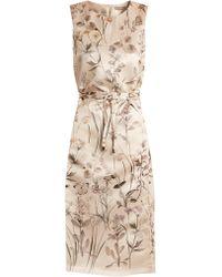 Bottega Veneta   Floral-print Pintucked-detail Satin Dress   Lyst