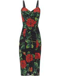 Dolce & Gabbana - ビスチェ ローズプリント ドレス - Lyst