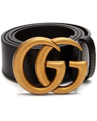 Gucci Wide Leather Belt With Double G - Black