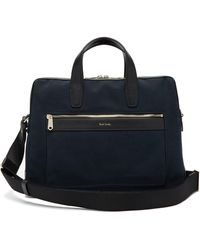 Paul Smith Leather-trimmed Canvas Briefcase - Blue