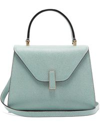 Valextra Iside Mini Grained-leather Bag - Blue