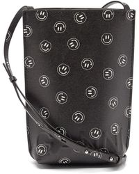 Ganni Smiling Face Recycled-leather Cross-body Bag - Black