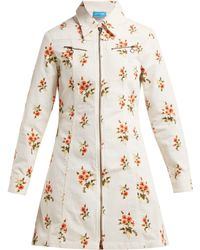 M.i.h Jeans Robe en velours côtelé à imprimé fleuri Codie - Blanc