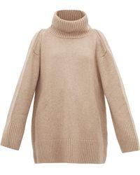 Khaite Tenille Slit-shoulder Cashmere Jumper - Natural