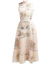 Emilia Wickstead Sheila Italy-print Midi Dress - Pink