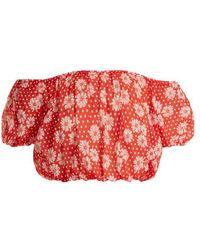 Lisa Marie Fernandez - Leandra Floral-print Cotton Cropped Top - Lyst