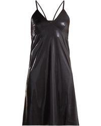 Norma Kamali V Neck Metallic Slip Dress - Black